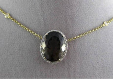 ESTATE LARGE 8.79CTW DIAMOND & AAA SMOKEY TOPAZ 14KT YELLOW GOLD OVAL NECKLACE