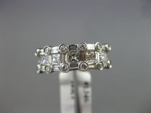 WIDE 1.40CT ROUND PRINCESS & BAGUETTE DIAMOND 14KT WHITE GOLD WEDDING RING #1346