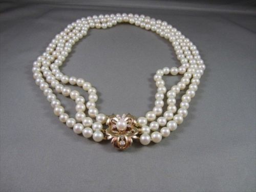 ANTIQUE 3 STRAND DIAMOND PEARL 14K W&Y GOLD FILIGREE FLOWER NECKLACE #21868
