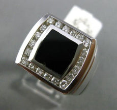 ESTATE LARGE .60CT DIAMOND & AAA ONYX 14K WHITE GOLD 3D SQUARE CLASSIC MENS RING