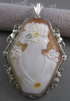 LARGE ANTIQUE VICTORIAN DIAMOND LADY FLOWERS CAMEO PENDANT 14K WHITE GOLD #21074