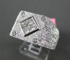LARGE .60CT ROUND & PRINCESS DIAMOND 18KT WHITE GOLD SQUARE INVISIBLE MENS RING