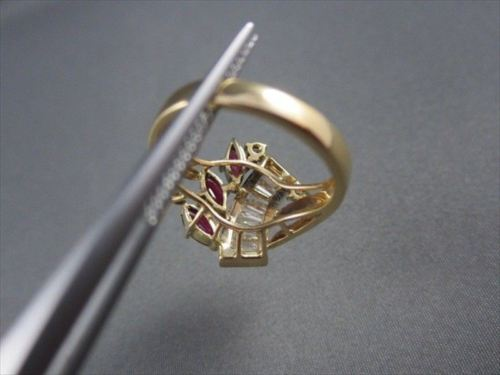 ANTIQUE WIDE 1.45CTW DIAMOND & AAA RUBY 14KT YELLOW COCKTAIL RING AMAZING #22075