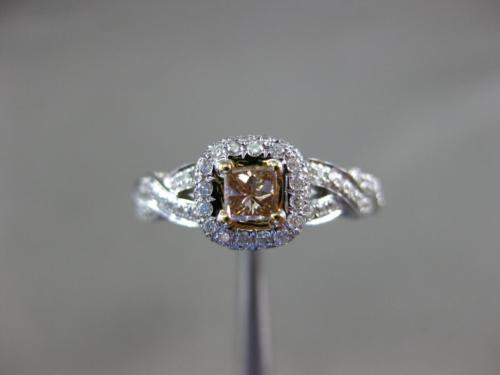 ESTATE 1.03CT WHITE & CHOCOLATE FANCY DIAMOND 18K 2 TONE GOLD 3D ENGAGEMENT RING