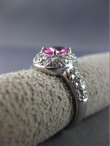 ESTATE 1.34CT DIAMOND & PINK SAPPHIRE 18K WHITE GOLD DOUBLE HALO ENGAGEMENT RING