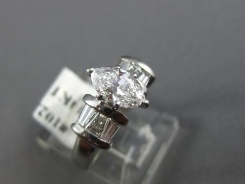 ESTATE 1.30CT BAGUETTE & MARQUISE DIAMOND 14K WHITE GOLD 3D ENGAGEMENT RING 1023