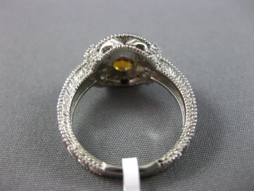 LARGE .92CT DIAMOND & AAA YELLOW SAPPHIRE 14KT WHITE GOLD BEZEL ENGAGEMENT RING