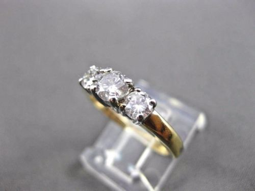 ESTATE .70CT DIAMOND 14KT WHITE & YELLOW GOLD 3D 3 STONE ENGAGEMENT RING #20171