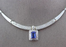 ESTATE 1.72CT DIAMOND & TANZANITE 14K WHITE GOLD SQUARE HALO DOUBLE ROW NECKLACE