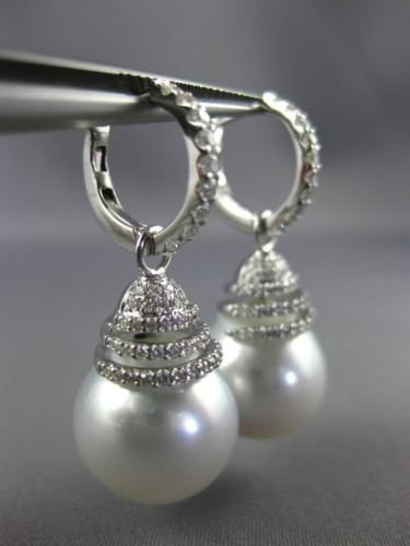 LARGE .70CT DIAMOND & AAA SOUTH SEA PEARL 18K WHITE GOLD HUGGIE HANGING EARRINGS