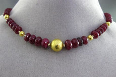 ANTIQUE LARGE 18KT YELLOW GOLD 3D EXTRA FACETED GRADUATING RUBY NECKLACE #24576