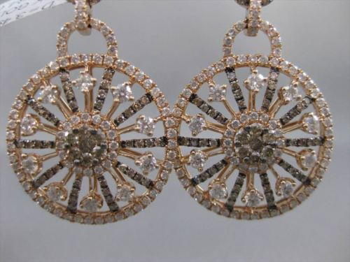 ANTIQUE 3.49CT DIAMOND 18KT ROSE GOLD FLORAL SNOW FLAKE HANGING EARRINGS