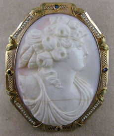 LARGE ANTIQUE SAPPHIRE PEARL 14K YLW GOLD ITALIAN SHELL CAMEO PIN PENDANT #19939