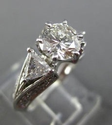 LARGE GIA CERTIFIED 2.27CT ROUND & TRILLION DIAMOND PLATINUM 3D ENGAGEMENT RING