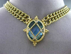 ANTIQUE 20.04CT DIAMOND BLUE TOPAZ 14K YELLOW GOLD ETOILE FILIGREE OVAL NECKLACE