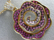 LARGE 1.54CT DIAMOND & AAA PINK SAPPHIRE 18KT ROSE GOLD 3D FLOWER SWIRL PENDANT