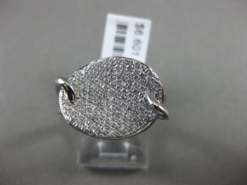 ESTATE WIDE .56CT ROUND DIAMOND 18K WHITE GOLD 3D OVAL WAVE PAVE FUN RING FG VVS