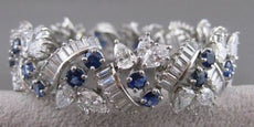 ANTIQUE 28.30CT DIAMOND SAPPHIRE PLATINUM OPEN FILIGREE BRACELET 19MM WIDE #2513