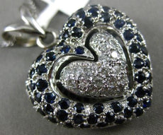 ESTATE LARGE 4.35CT DIAMOND & AAA SAPPHIRE 14KT WHITE GOLD DOUBLE HEART PENDANT