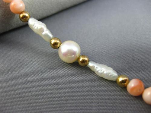 ESTATE LONG AAA SOUTH SEA PEARL & CORAL 14KT YELLOW GOLD 3D BEAD BRACELET #26199