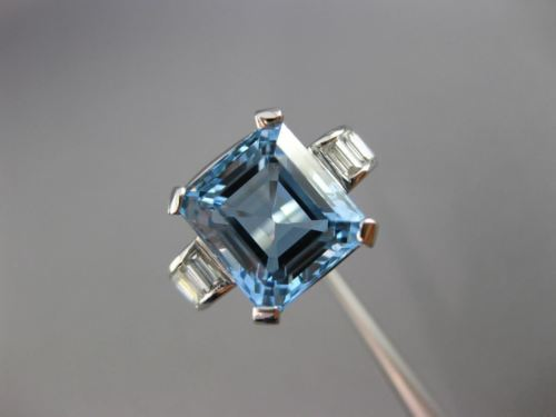 ANTIQUE 5.46CT DIAMOND AQUAMARINE 14KT WHITE GOLD 3D EMERALD CUT ENGAGEMENT RING
