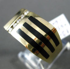 ESTATE WIDE .25CT DIAMOND & ONYX 14KT YELLOW GOLD 5 STONE 3D STRIPE MENS RING