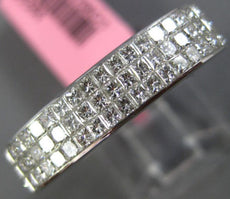 ESTATE 1.14CT PRINCESS DIAMOND 18KT WHITE GOLD 3 ROW INVISIBLE ANNIVERSARY RING