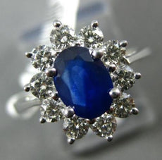 ESTATE WIDE 1.75CT ROUND DIAMOND & OVAL SAPPHIRE 14KT WHITE GOLD ENGAGEMENT RING