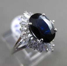 ESTATE WIDE 3.17CT DIAMOND & AAA SAPPHIRE 14K WHITE GOLD 3D OVAL ENGAGEMENT RING
