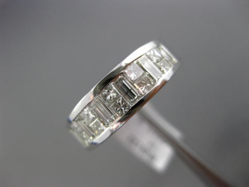 ESTATE 1.40CT DIAMOND 14KT WHITE GOLD 3D CHANNEL WEDDING ANNIVERSARY RING 6mm