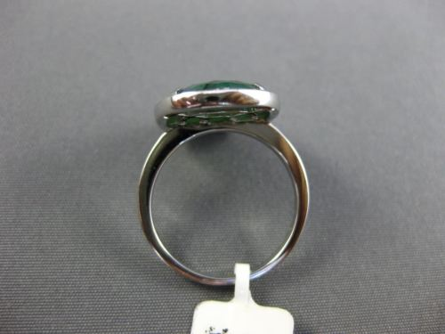 ESTATE LARGE  10CT ROUND DIAMOND & GREEN AGATE 14KT WHITE GOLD 3D OVAL HALO  RING