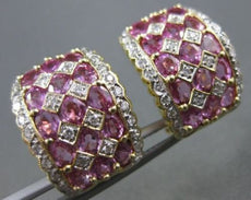 WIDE 2.90CTW PINK SAPPHIRE DIAMOND 18KT WHITE & YELLOW GOLD EARRINGS #21752