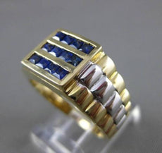 ESTATE .83CT AAA SAPPHIRE 14KT WHITE & YELLOW GOLD SQUARE 3 ROW MENS GYPSY RING