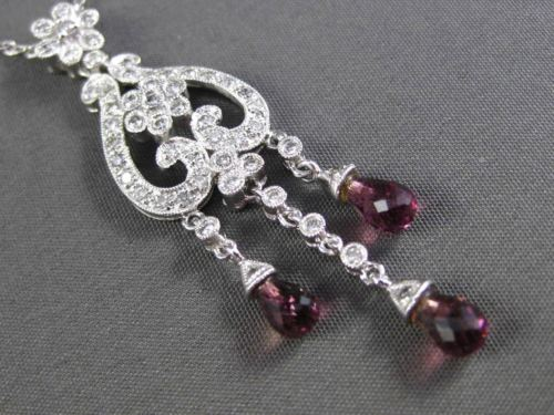 ANTIQUE 2.78CT DIAMOND AMETHYST 14KT WHITE GOLD FILIGREE MILGRAIN FLOWER PENDANT