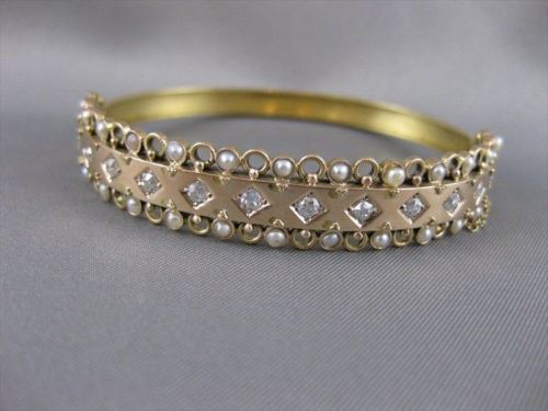 WIDE ANTIQUE OLD MINE CUT DIAMOND PEARL 14K PINK ROSE GOLD BANGLE BRACELET #2016