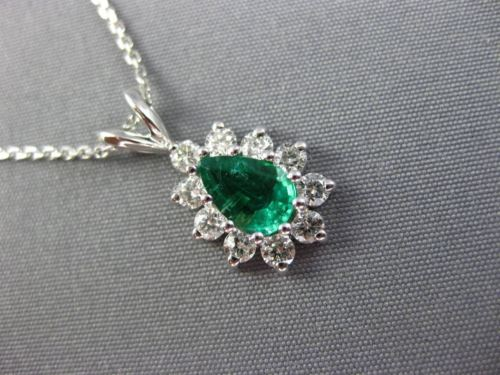 .96CT DIAMOND & AAA COLOMBIAN EMERALD 14K WHITE GOLD PEAR SHAPE PENDANT #26078