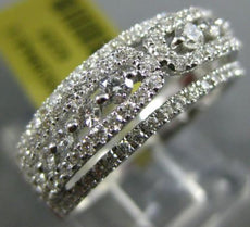 ESTATE .81CT DIAMOND 18KT WHITE GOLD CLASSIC MULTI ROW WEDDING ANNIVERSARY RING