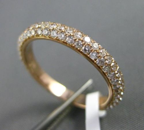 ESTATE .91CT DIAMOND 18KT ROSE GOLD 3D CLASSIC ETERNITY WEDDING ANNIVERSARY RING