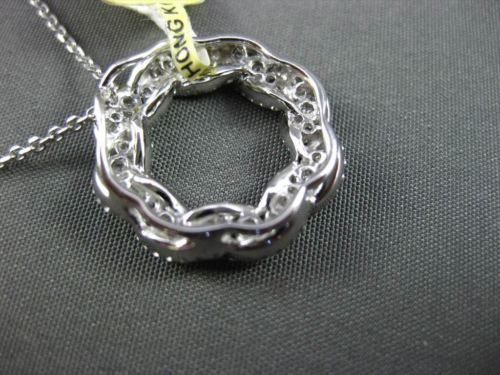 ESTATE .98CT DIAMOND 18KT WHITE GOLD FLOATING INFINITY OPEN CIRCLE PENDANT #8444
