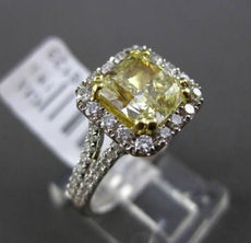 ESTATE LARGE 2.96CT GIA FANCY YELLOW DIAMOND 18K TWO TONE GOLD ENGAGEMENT RING