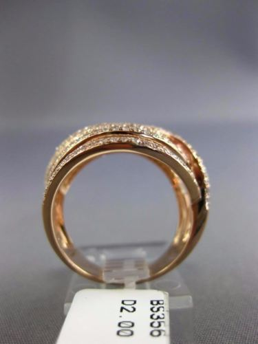 EFFY LARGE 2.0CT ROUND DIAMOND 14KT ROSE GOLD 3D MULTI ROW INFINITY LOVE RING