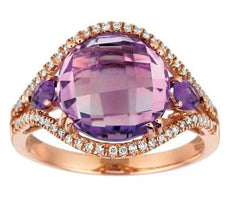 ESTATE 4.98CT DIAMOND & AAA EXTRA FACET AMETHYST 14KT ROSE GOLD 3D WAVE FUN RING