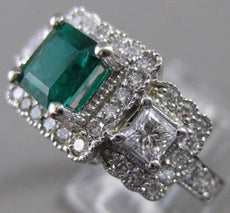 ESTATE 2.64CTW DIAMOND EMERALD 14KT GOLD FILIGREE COCKTAIL ENGAGEMENT RING #2461