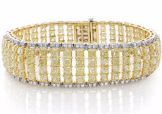 LARGE 29.64CT WHITE & FANCY YELLOW DIAMOND 18K 2 TONE GOLD 3 ROW TENNIS BRACELET