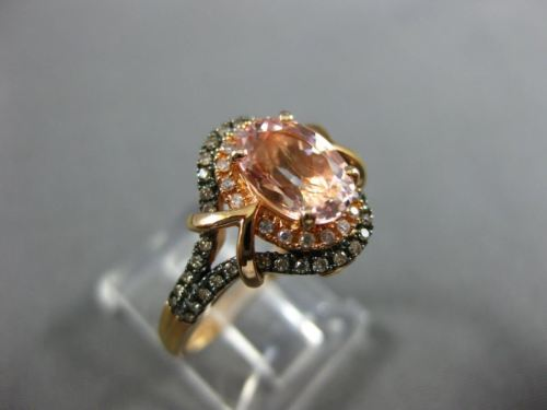 WIDE 1.34CT MULTI COLOR DIAMOND & AAA MULTI GEM 14K ROSE GOLD 3D ENGAGEMENT RING