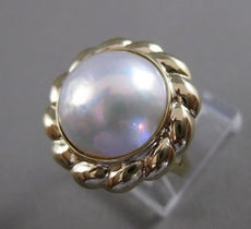 ESTATE LARGE 14MM MABE PEARL 14KT YELLOW GOLD ROPE FILIGREE COCKTAIL RING #21073