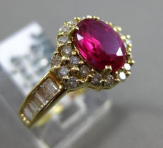 ESTATE WIDE 2.57CT DIAMOND & RUBELLITE 18KT YELLOW GOLD HALO ENGAGEMENT RING