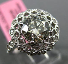 GIA 1.91CT DIAMOND 18K WHITE GOLD 3D SOLITAIRE FILIGREE MILGRAIN ENGAGEMENT RING
