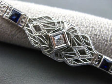 ANTIQUE 1.22CT OLD MINE DIAMOND & SAPPHIRE 14KT W GOLD FILIGREE BRACELET #21613