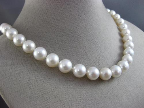 ESTATE LARGE AAA SOUTH SEA PEARL 14KT WHITE GOLD 3D 10MM CLASSIC NECKLACE #26189